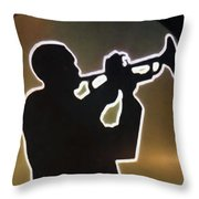 Trumpet - Classic Jazz Music All Night Long Throw Pillow by Christine Till