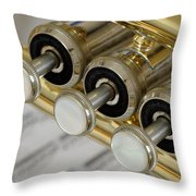 Trumpet Valves Throw Pillow by Frank Tschakert