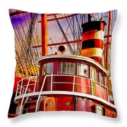 Tugboat Helen Mcallister Throw Pillow by Chris Lord