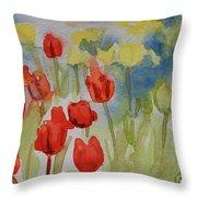 Tulip Field Throw Pillow by Gretchen Bjornson