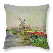 Tulip Field In Holland Throw Pillow by Claude Monet