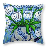 Tulip Tranquility Throw Pillow by Lisa  Lorenz