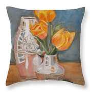Tulips Jade And Books Throw Pillow by Jenny Armitage