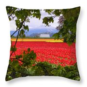 Tulips Secret Window Throw Pillow by Louise Magno