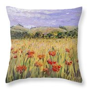 Tuscany Poppies Throw Pillow by Nadine Rippelmeyer