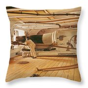 Twenty-Seven Pound Cannon on a Battleship Throw Pillow by Gustave Bourgain