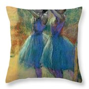 Two Blue Dancers Throw Pillow by Edgar Degas