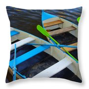 Two Boats Throw Pillow by Carlos Caetano