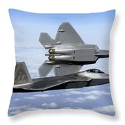 Two F-22a Raptors In Flight Throw Pillow by Stocktrek Images