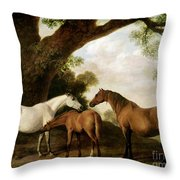 Two Mares And A Foal Throw Pillow by George Stubbs
