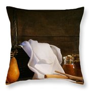 Two pears with white cloth Throw Pillow by Sandra Cunningham
