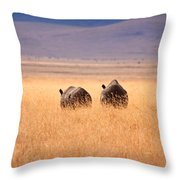 Two Rhino's Throw Pillow by Adam Romanowicz