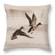 Two Winter Ducks In Flight Throw Pillow by Carol Groenen