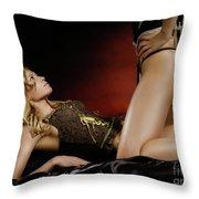 Two Women On A Bed Throw Pillow by Oleksiy Maksymenko