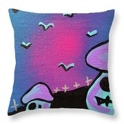 Two Zombie Mushrooms Throw Pillow by Jera Sky
