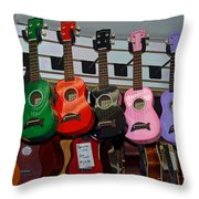 Ukeleles For Sale Throw Pillow by Suzanne Gaff