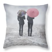 Umbrellas In The Mist Throw Pillow by Joana Kruse