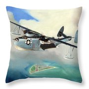 Uncle Bubba's Flying Boat Throw Pillow by Marc Stewart