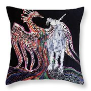 Unicorn And Phoenix Merge Paths Throw Pillow by Carol Law Conklin