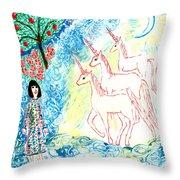 Unicorns Come Home Throw Pillow by Sushila Burgess