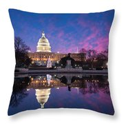 United States Capitol Building Christmas Tree Reflections Throw Pillow by Mark VanDyke