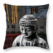 Urban Buddha  Throw Pillow by Linda Woods
