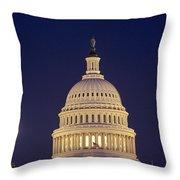 U.s. Capitol Building Lit Throw Pillow by Kenneth Garrett