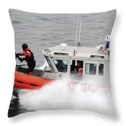 U.s. Coast Guardsmen Aboard A Security Throw Pillow by Stocktrek Images