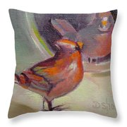 VAIN CARDINAL Throw Pillow by Donna Shortt