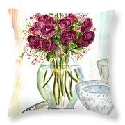 Valentines Crystal Rose Throw Pillow by Clara Sue Beym