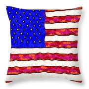 Van Gogh.s Starry American Flag . Square Throw Pillow by Wingsdomain Art and Photography