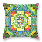 Vegetable Patchwork Throw Pillow by Isobel  Brook Haslam