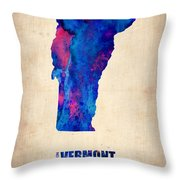 Vermont Watercolor Map Throw Pillow by Naxart Studio