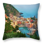 Vernazza From Above Throw Pillow by Inge Johnsson