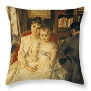 Victorian Family Scene Throw Pillow by Alfred Emile Stevens