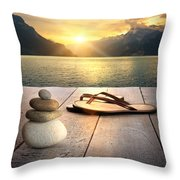 View Of Sandals And Rocks On Dock  Throw Pillow by Sandra Cunningham