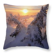 View Of Snow-covered Trees At Mont Throw Pillow by Yves Marcoux