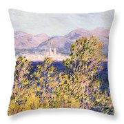 View Of The Cap Dantibes With The Mistral Blowing Throw Pillow by Claude Monet