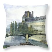 View Of The Pavillon De Flore Of The Louvre Throw Pillow by Francois-Marius Granet