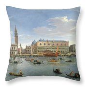 View Of Venice From The Island Of San Giorgio Throw Pillow by Gaspar van Wittel