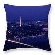 View Of Washington D.c. At Night Throw Pillow by Kenneth Garrett