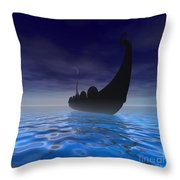Viking Ship Throw Pillow by Corey Ford