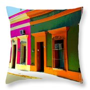 Village Streetscape By Michael Fitzpatrick Throw Pillow by Mexicolors Art Photography