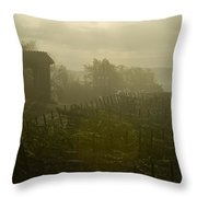Vineyards Beside A Villa In The Fog Throw Pillow by Todd Gipstein