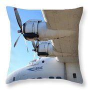 Vintage BOAC British Overseas Airways Corporation Speedbird Flying Boat . 7D11289 Throw Pillow by Wingsdomain Art and Photography
