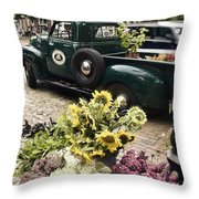 Vintage Flower Truck-nantucket Throw Pillow by Tammy Wetzel