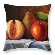 Vintage-fruit Throw Pillow by Linda Hiller