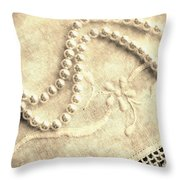 Vintage Lace And Pearls Throw Pillow by Barbara Griffin