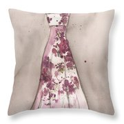 Vintage Romance Dress Throw Pillow by Lauren Maurer