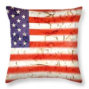 Vintage Stars and Stripes Throw Pillow by Jane Rix